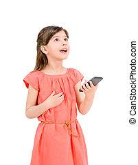 téléphone portable, inspiré, girl
