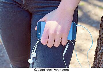 téléphone portable, intelligent, main