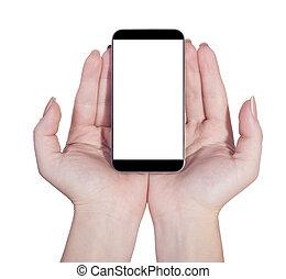 téléphone portable, isolé, mains