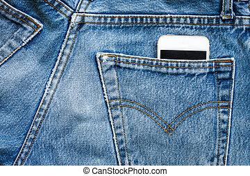 téléphone portable, jean, intelligent, sac