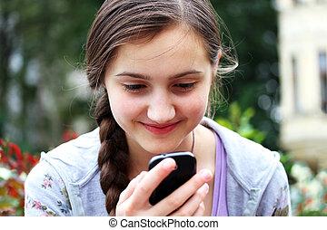téléphone portable, lit, message, girl, heureux