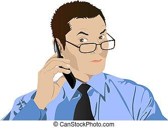 téléphone portable, lunettes, homme