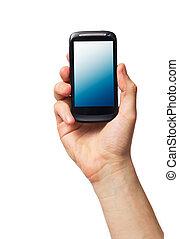 téléphone portable, mâle, main