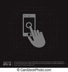 téléphone portable, main, icône