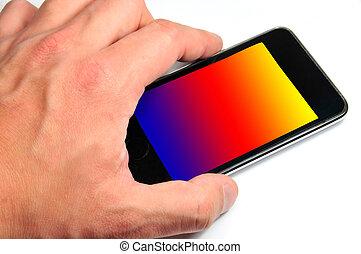 téléphone portable, main