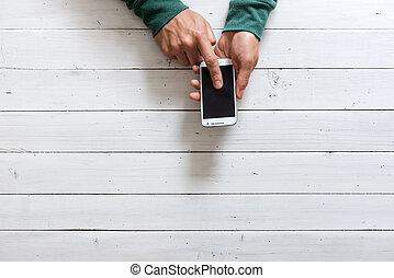 téléphone portable, mains