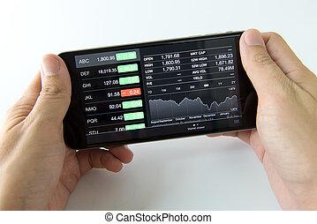 téléphone portable, marché, stockage