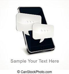 téléphone portable, message, blanc