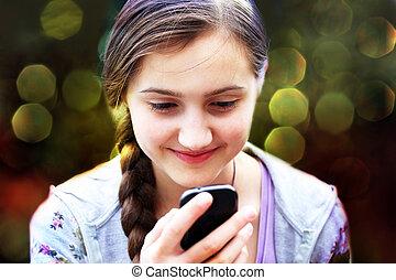 téléphone portable, message, lit, girl