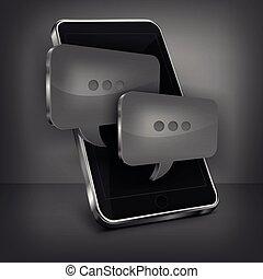 téléphone portable, message, noir