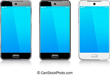 téléphone portable, mobile, intelligent, trois