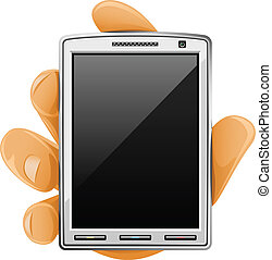 téléphone portable, moderne, main