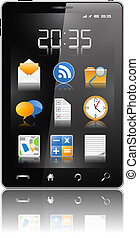 téléphone portable, moderne, noir