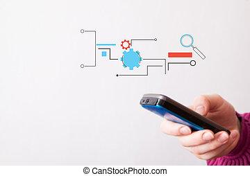 téléphone portable, moderne, tenant main