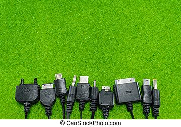 téléphone portable, multi, tête, chargeur