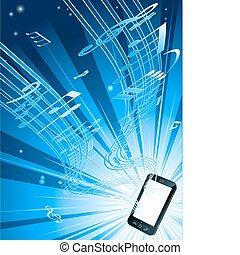 téléphone portable, musique, fond