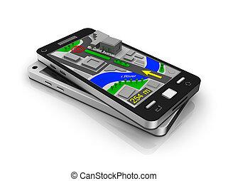 téléphone portable, navigateur, gps