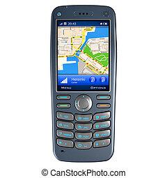 téléphone portable, navigation, gps