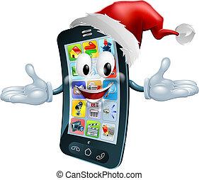 téléphone portable, noël, heureux