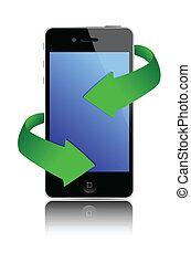 téléphone portable, noir, illustration