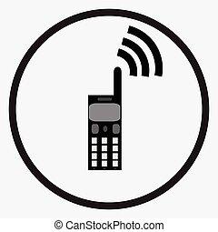téléphone portable, noir, monochrome, blanc, icône