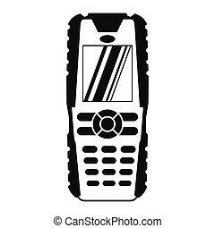 téléphone portable, noir, simple, icône