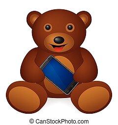 téléphone portable, ours