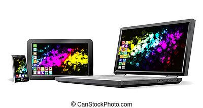 téléphone portable, pc tablette, et, laptop.
