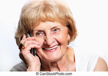 téléphone portable, personne agee, dame