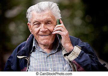 téléphone portable, personne agee