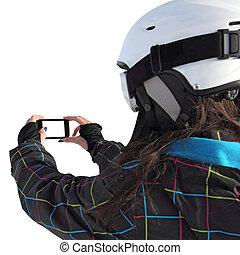 téléphone portable, photographié