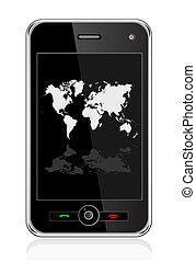 téléphone portable, planisphère