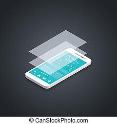 téléphone portable, plat, interface utilisateur