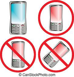 téléphone portable, prohibition, signe