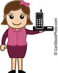 téléphone portable, projection, dame, bureau