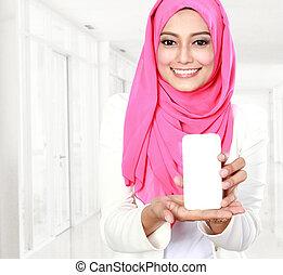 téléphone portable, projection, femme