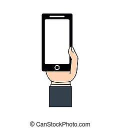 téléphone portable, réseau, main