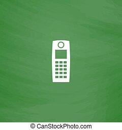 téléphone portable, retro, icône
