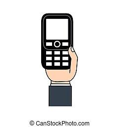 téléphone portable, retro, main