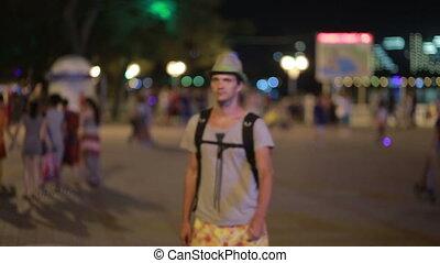 téléphone portable, rue., smatphone, utilisation, homme, chapeau, beau