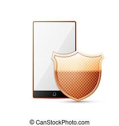 téléphone portable, sécurité, concept, -