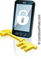 téléphone portable, sécurité, concept