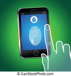 téléphone portable, sécurité, vecteur, concept