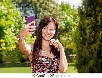 téléphone portable, selfie, parc, girl
