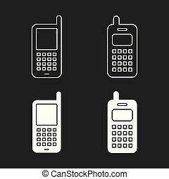 téléphone portable, set., icônes