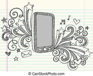 téléphone portable, sketchy, vecteur, griffonnage
