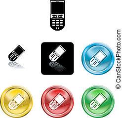 téléphone portable, symbole, icône