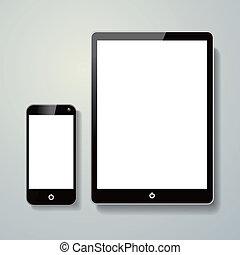 téléphone portable, tampon, toucher, vide