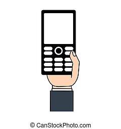 téléphone portable, technologie, main
