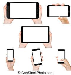 téléphone portable, tenant main